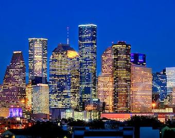 Houston Skyline Night Panoramic Photo Poster Cityscape Downtown Print