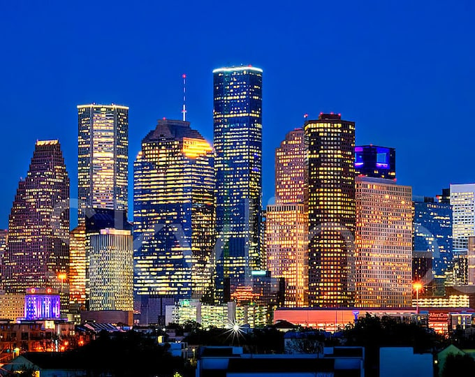 Houston Skyline Night Panoramic Photo Poster Cityscape Downtown Print
