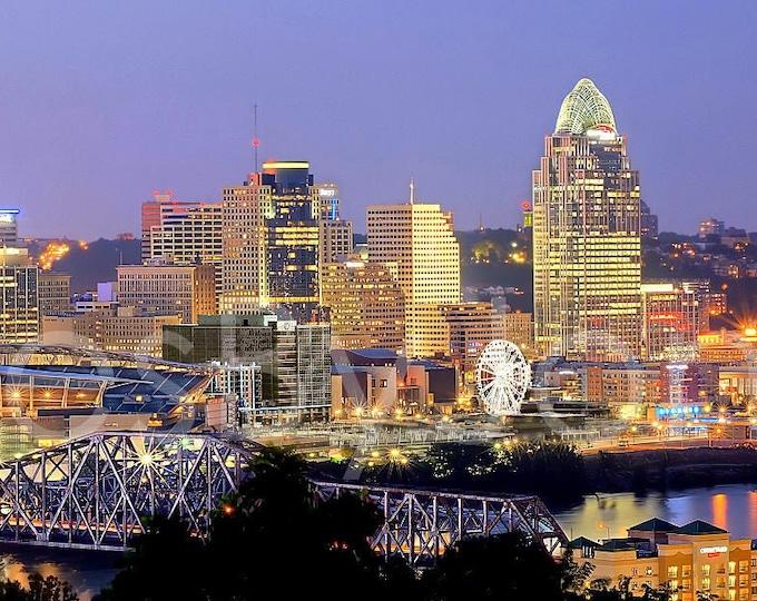 CANVAS Cincinnati Skyline Cincy DUSK Panoramic Photo Print Cityscape Picture