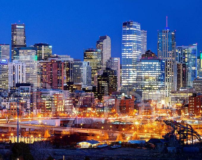 Denver Skyline DUSK Broncos Panoramic Photo Print Poster Cityscape Colorado Speer Bridge