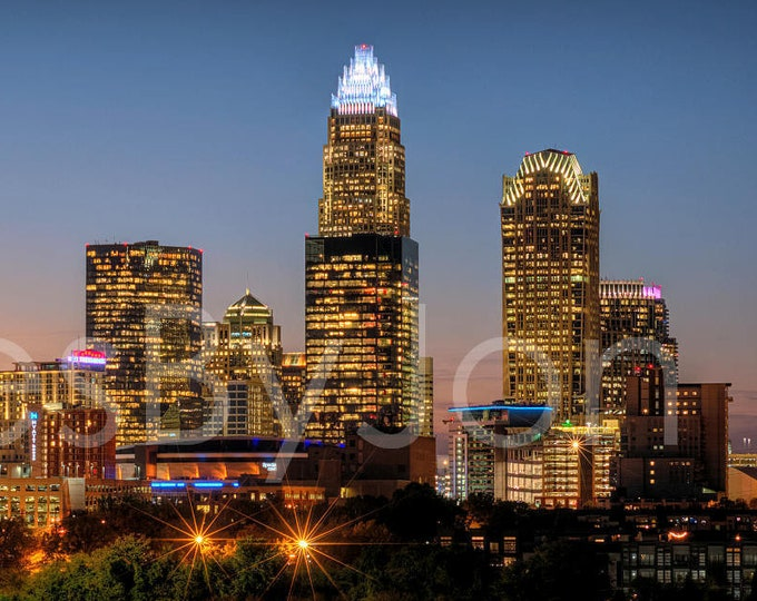 Charlotte Skyline 2020 at DUSK Color or BW Downtown Panoramic Canvas Photo Print Poster Cityscape Print