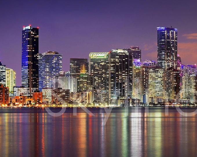 Miami Skyline 2020 DUSK Panoramic Photo Poster Cityscape Downtown Print