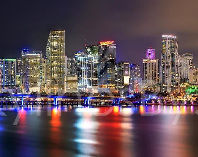 Miami Skyline 2020 NIGHT Panoramic Photo Print Poster Cityscape