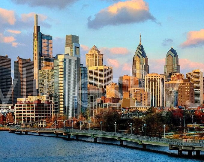 Philadelphia Skyline 2018 Dusk PHILLY Panoramic Photo Poster Print Cityscape Downtown from South Street Bridge