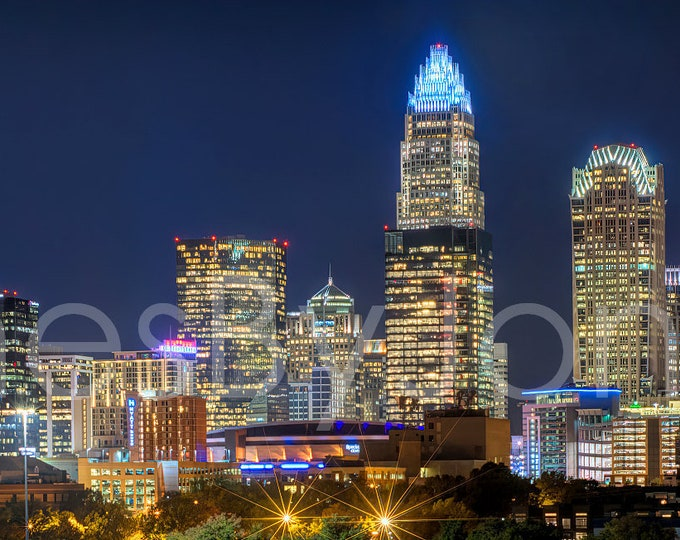 Charlotte Skyline 2019 at NIGHT Color or BW Downtown Panoramic Canvas Photo Print Poster Cityscape Print