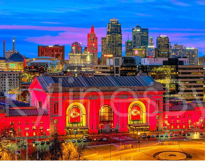 Kansas City KC Skyline Dusk Panoramic Photo Poster Cityscape Downtown Print Chiefs Red ChiefsKingdom