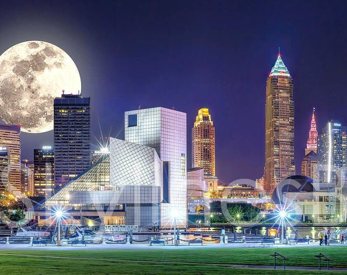 Cleveland Skyline 2019 NIGHT Moon Rock Hall Browns Stadium Panoramic Photo Poster Cityscape Downtown Print