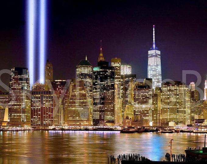 New York City NYC 2017 Skyline NIGHT Tribute in Lights Lower Manhattan Panoramic Photo Poster Cityscape