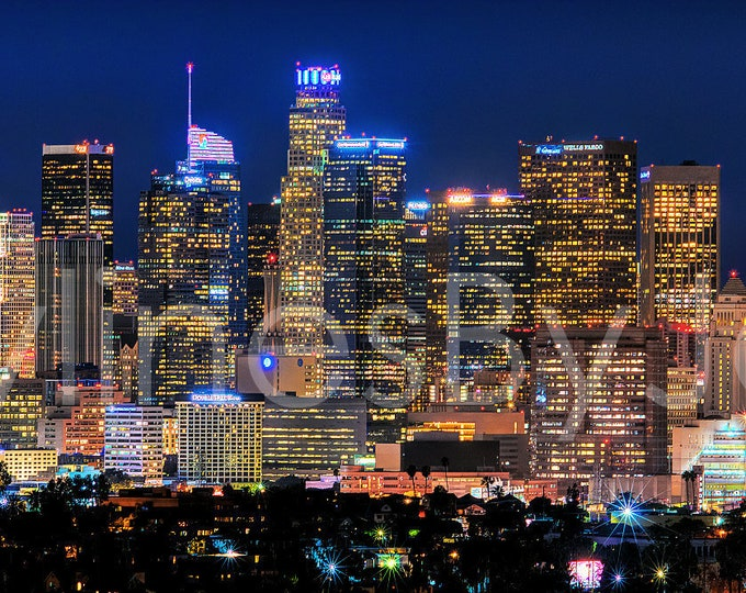 Los Angeles Skyline 2019 NIGHT Downtown Panoramic Photo Poster Cityscape Downtown Print