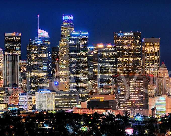 CANVAS 2019 Los Angeles Skyline NIGHT Downtown Panoramic Photo Cityscape Print