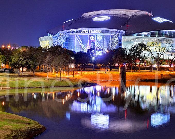 Dallas Cowboys ATT Stadium Arlington Texas Panoramic Photo Poster Cityscape Downtown Print