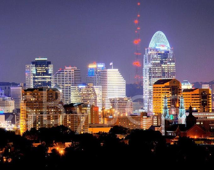 Cincinnati Skyline NIGHT Panoramic Photo Print Cityscape Cincy Picture