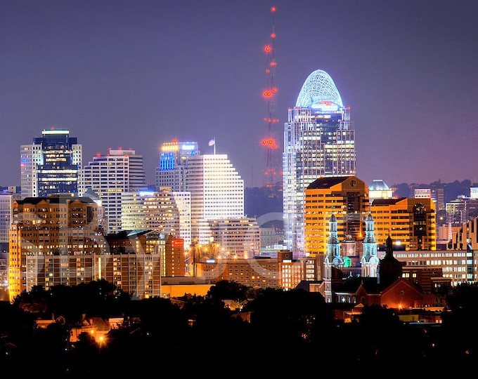 CANVAS Cincinnati Skyline NIGHT Cincy Panoramic Photo Print Picture Cityscape