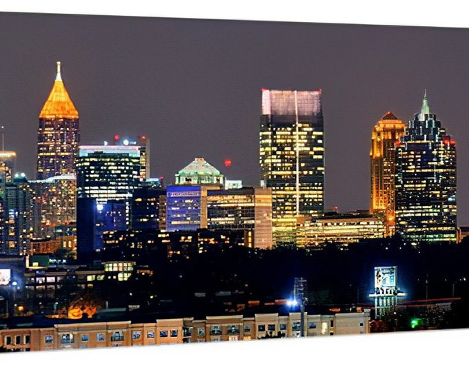 CANVAS Atlanta Skyline at Night Color or BW Downtown Midtown Panoramic Photo Cityscape Standard Size