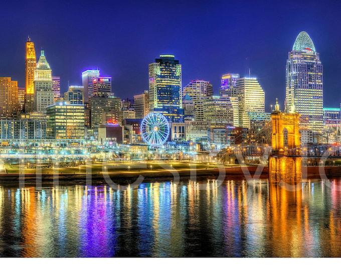 Cincinnati Skyline 2019 Evening NIGHT River Panoramic Photo Print Cityscape Cincy Picture