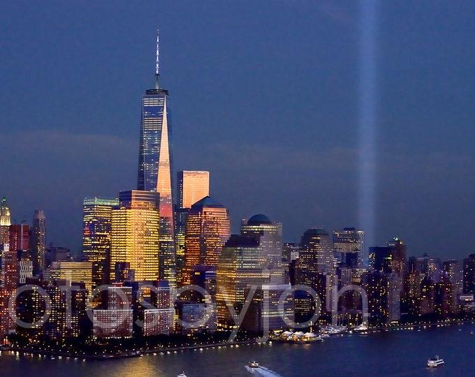 New York City NYC Skyline DUSK 2014 Tribute in Lights Lower Manhattan Panoramic Photo Poster Cityscape