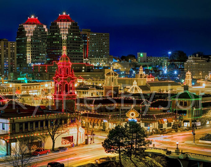 Kansas City KC Plaza NIGHT Photo Poster Cityscape Chiefs Red ChiefsKingdom