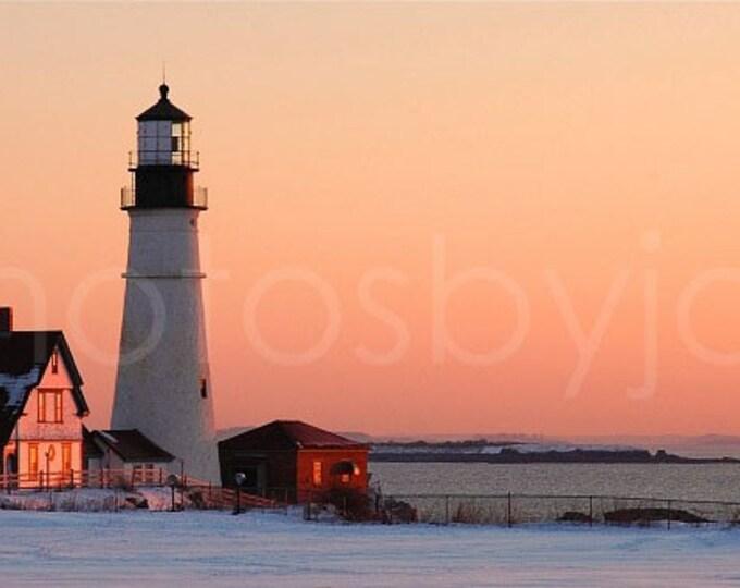 Portland Head Light at Dawn - 8x16 signed original photograph, Maine Lighthouse