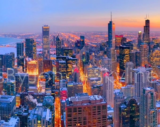 CANVAS Chicago Skyline DUSK From Hancock Observation Panoramic Photo Print Cityscape