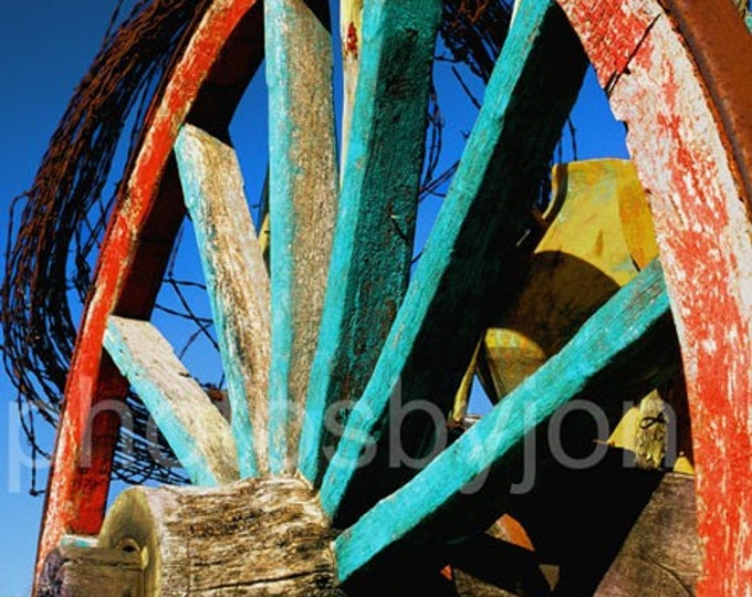 Rode Hard and Put Up - 8x12 signed and numbered original photograph - rustic wagon wheel