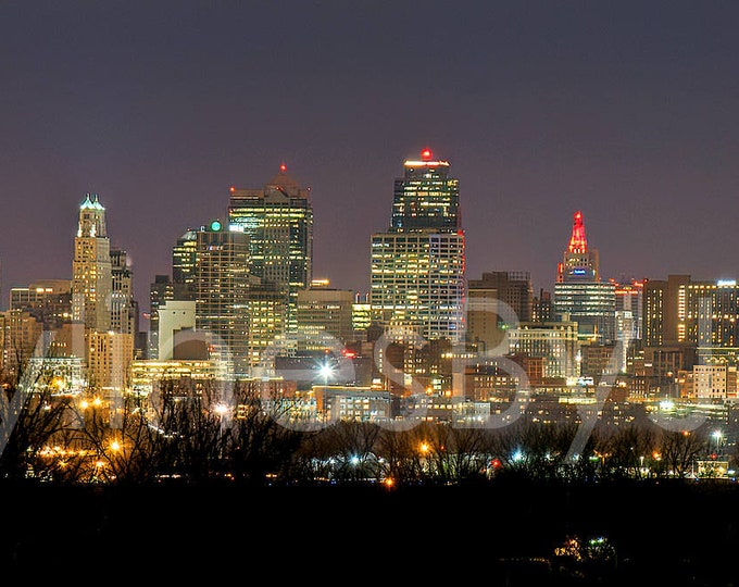 Kansas City KC Skyline NIGHT from North Panoramic Photo Poster Cityscape Downtown Print Chiefs Red ChiefsKingdom