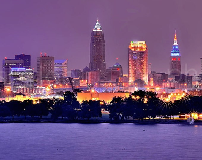 Cleveland Skyline at NIGHT Panoramic Print Panorama Photographic Poster Picture
