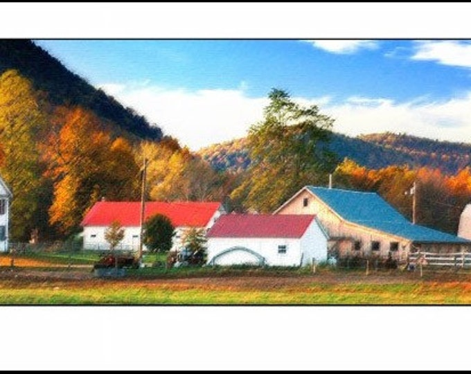 New England Farm - 12 x 36 Photographic Panorama Print - Fall in Vermont