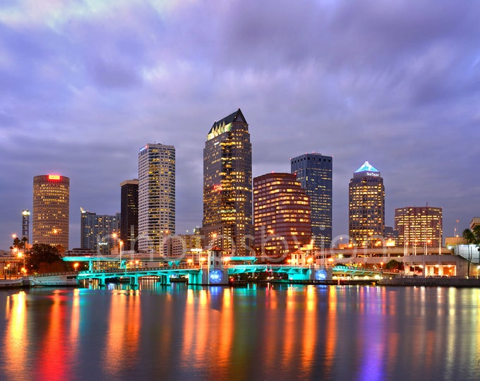 Tampa Skyline at DUSK Panoramic Photo Poster Cityscape Print Standard Frame Size