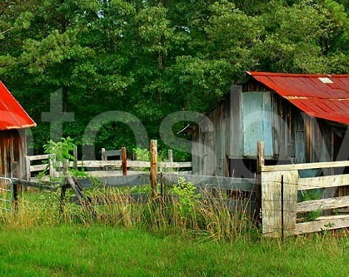 Rural Serenity - 16 x 48 Panoramic Print - Red Roof Barn - SPECIAL PRICE