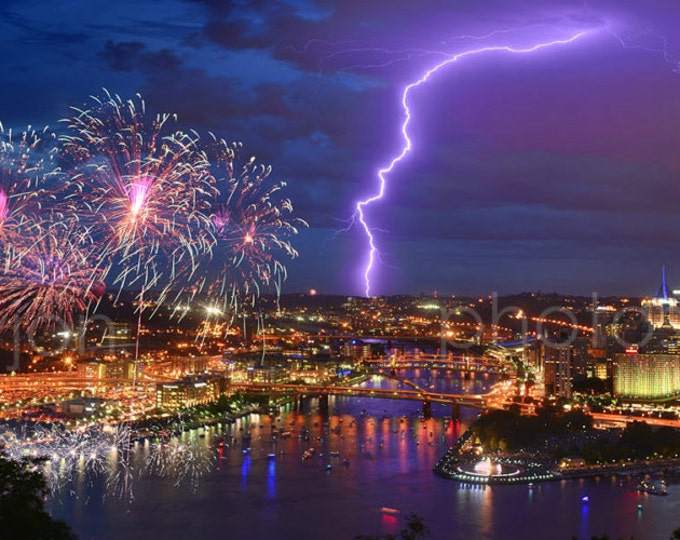 Pittsburgh Skyline at NIGHT Fireworks Lightning COLOR or BW Panoramic Photo Poster Cityscape Print