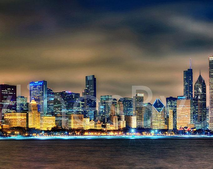 CANVAS Chicago Skyline at NIGHT 2015 Panoramic Print Panorama Photo Picture