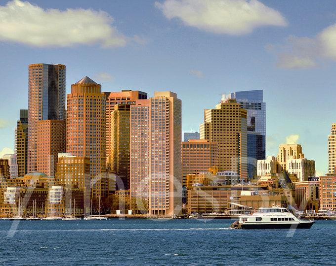 CANVAS Boston Skyline Early Morning Panoramic Photo Cityscape Print