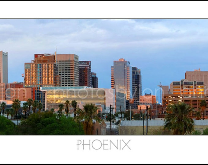 Phoenix Skyline DUSK Panoramic Photo Poster Cityscape Color or BW