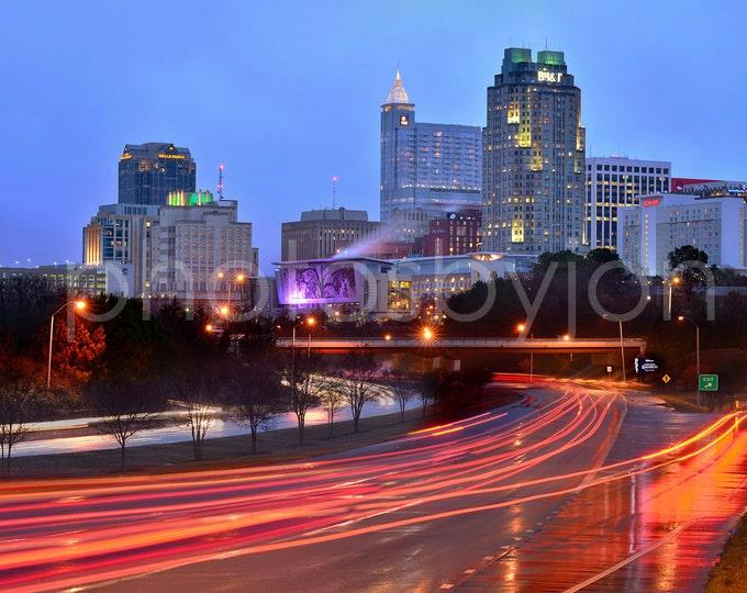 Raleigh Skyline at NIGHT Panoramic Photo Poster Cityscape Print North Carolina Standard Size