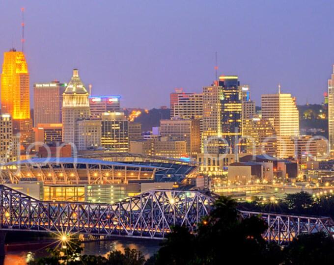 Cincinnati Skyline DUSK Panoramic Photo Print Cityscape Cincy