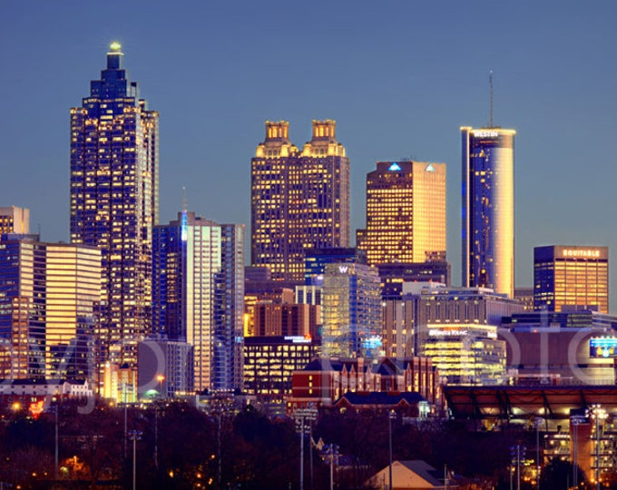 Atlanta Skyline at Dusk Color or BW Downtown Panoramic Photo Print Poster Cityscape Picture