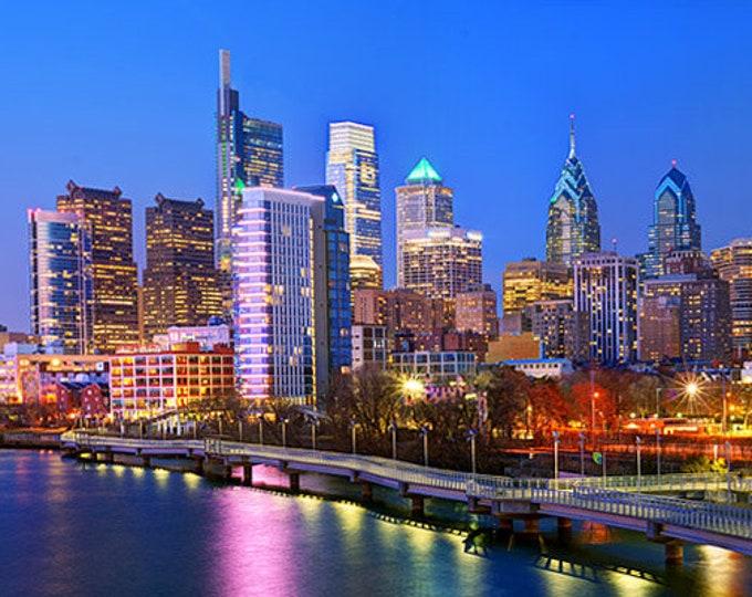 CANVAS 2018 Philadelphia Skyline at Dusk Sunset COLOR PHILLY Panoramic Photo Cityscape
