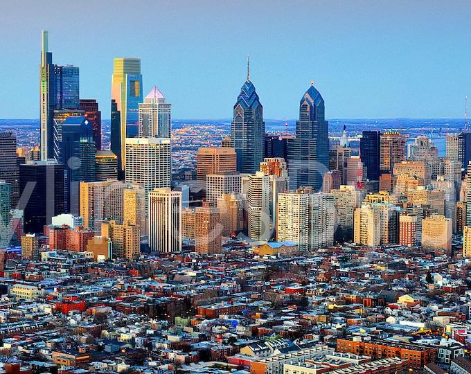 CANVAS Philadelphia Skyline 2018 Dusk Sunset COLOR or Bw PHILLY Panoramic Photo Cityscape