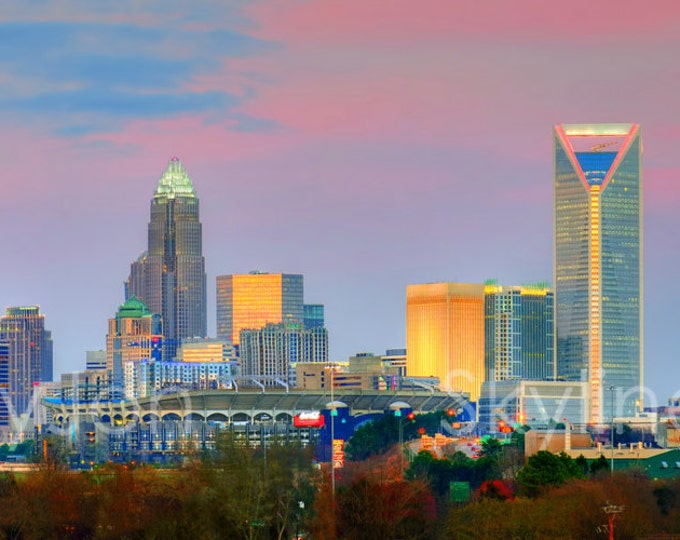 CANVAS Charlotte Skyline at Dusk Color or BW Downtown Panoramic Photo Cityscape Print
