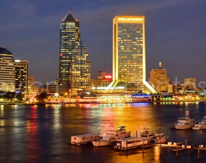 Jacksonville Skyline Dusk JAX Panoramic Photo Print Poster Cityscape
