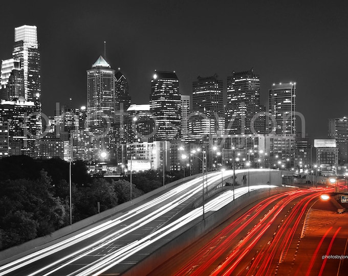 Philadelphia Skyline at NIGHT COLOR or BW Philly Panoramic Photo Poster Cityscape Print