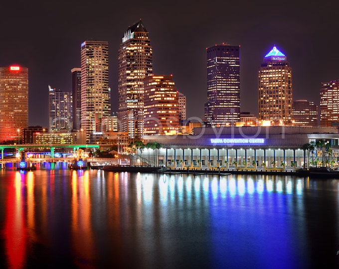 Tampa Skyline at NIGHT Panoramic Photo Poster Cityscape Print Standard Frame Size