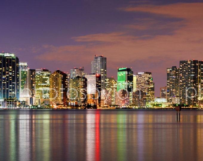 CANVAS Miami Skyline NIGHT Dusk Panoramic Downtown Photo Print Cityscape