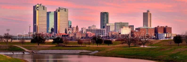 Fort Worth Skyline Skyline Panoramic Photo Print Poster Cityscape Ft Worth Texas