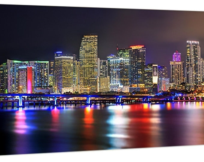 CANVAS Miami Skyline 2020 NIGHT Panoramic Photo Print  Cityscape