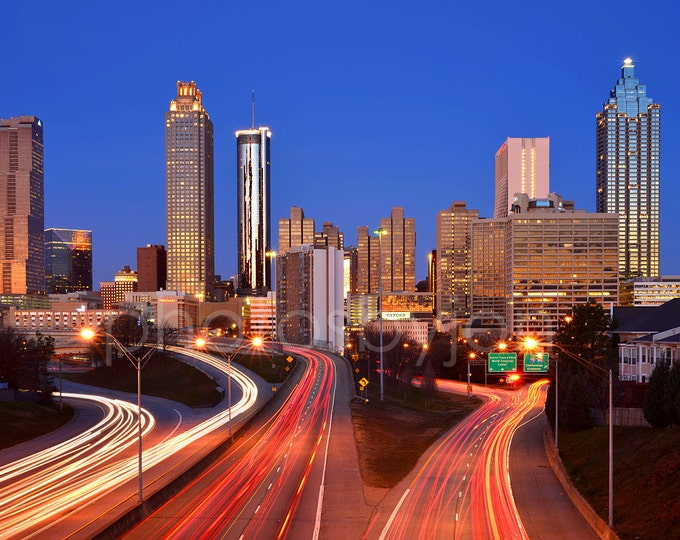CANVAS Atlanta Skyline at DAWN Color or BW Downtown Panoramic Photo Cityscape Print