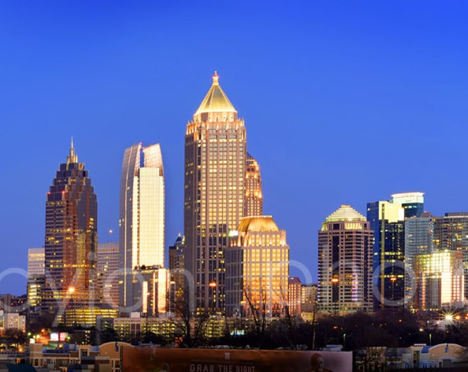 Atlanta Skyline at Dusk Color or BW Midtown Panoramic Photo Print Poster Cityscape Picture