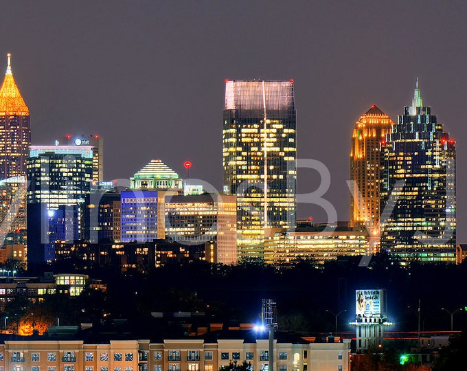 Atlanta Skyline at Night Color or BW Downtown Midtown Panoramic Photo Poster Cityscape Print