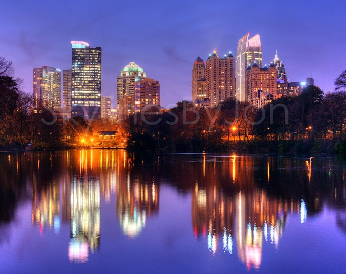 Atlanta Skyline at DUSK Color or BW Midtown Panoramic Photo Poster Cityscape Print