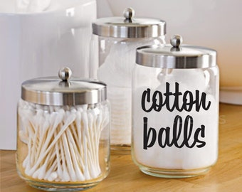 Cotton Balls Decal, vinyl decal for cotton ball container